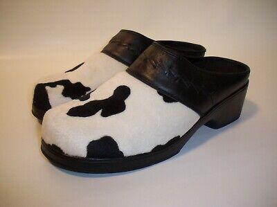 Dingo Women's 6 1/2M Cow Print Black Leather Mule Clog Shoes DI02215 Western Cow Print Clogs