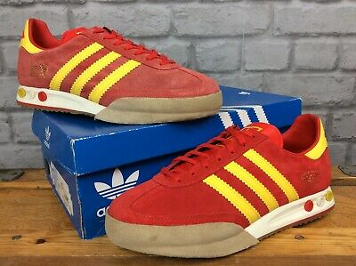 ADIDAS ORIGINALS MENS UK 9 EU 43 1/3 KEGLER SUPER RED YELLOW SUEDE TRAINERS