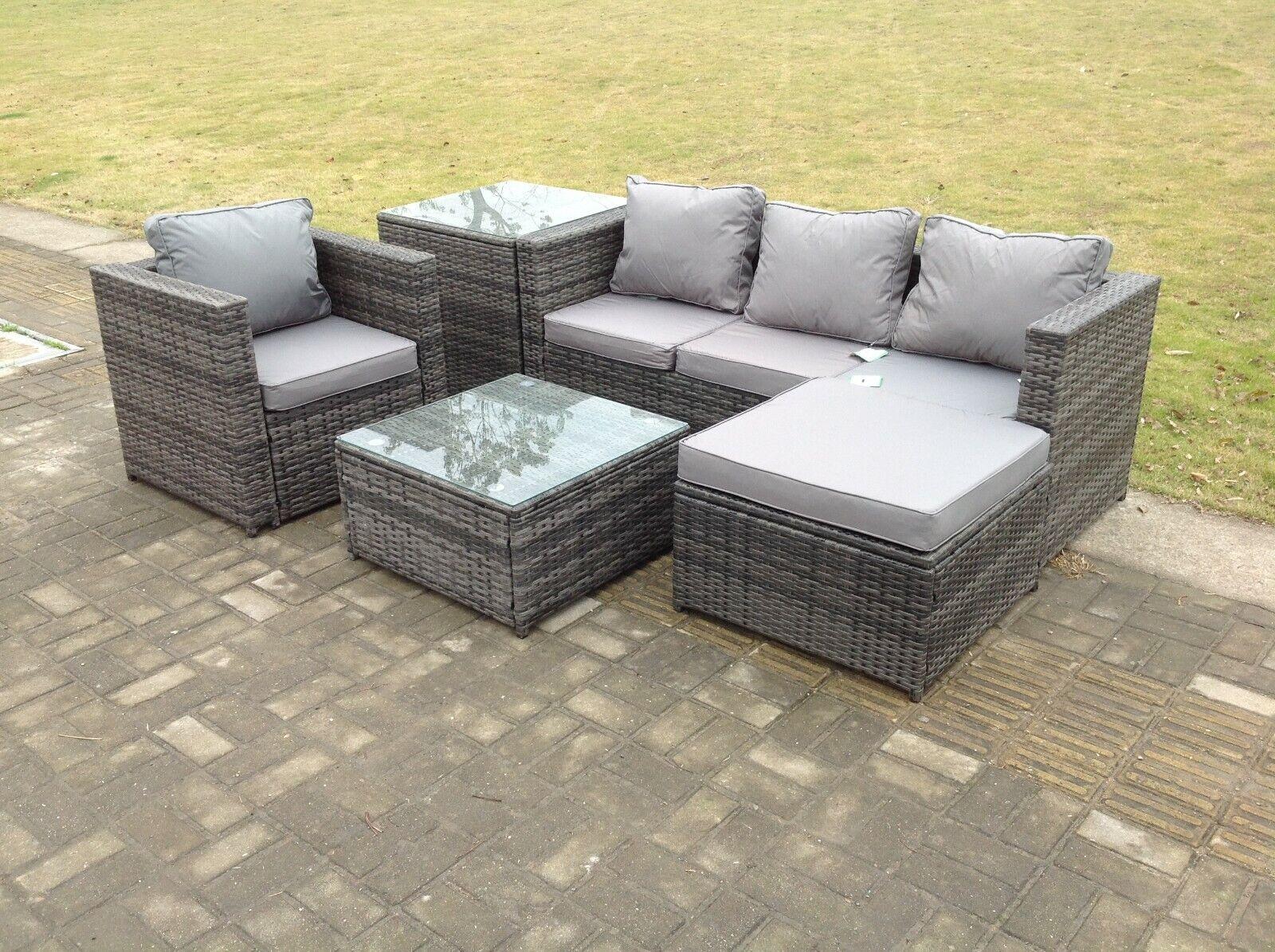 Garden Furniture - Lounge rattan sofa set with 2 table stool outdoor garden furniture patio grey