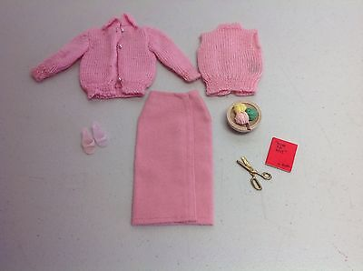 Vintage Barbie Clothes Pink Knitting Pretty w/Accessories # 0957 (1964) HTF