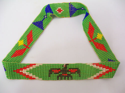 Vintage Beaded Native American Design Pow Wow Headband
