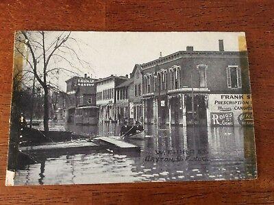 Postcard Dayton, Ohio. Disaster. W. 3rd Street. Flooding. Men in Boat. Bakery,Ph