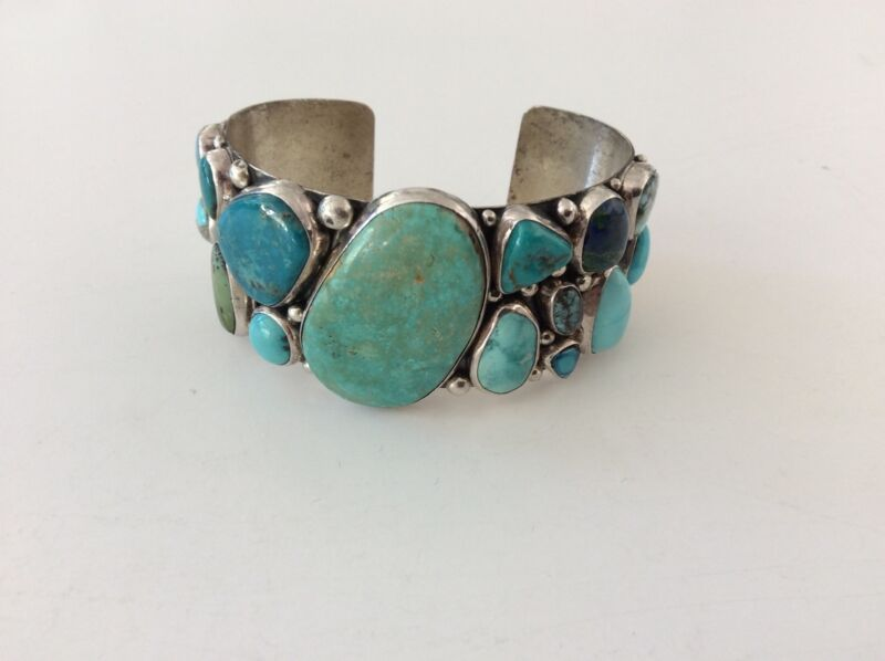 Nakai Sterling Silver Multi color Turquoise Jeweled Bracelet