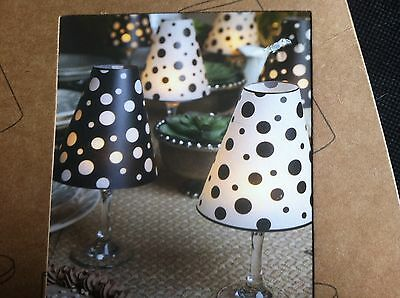 Lone Elm Studios Wine Glass Shades  Set of 6/Includes LED Tealight Black & White