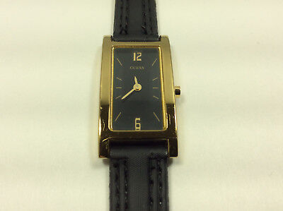 Guess G50319L Women's Watch Black Analog Dial Gold Tone Case Black Band Quartz