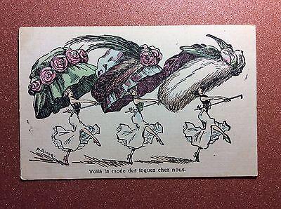 Antique postcard 1900 Art Nouveau fashion Dancing women huge fancy hats A.Riche.
