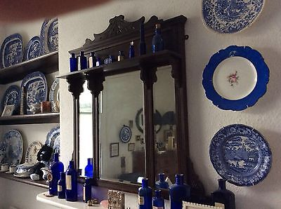 Pretty antique OVERMANTLE Mirror with Bevelled glass & shelf.
