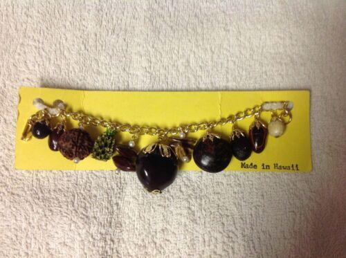 Vintage Hawaii Seed Charm Bracelet, Seed Types Listed Below