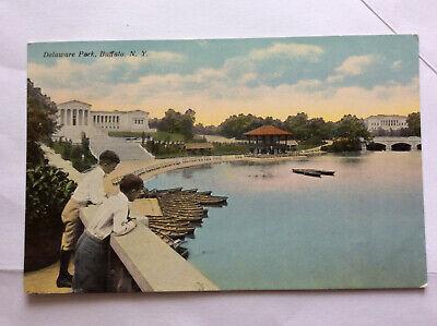 Delaware Park Buffalo Erie Co Boats Boys New York Historic Vintage Postcard