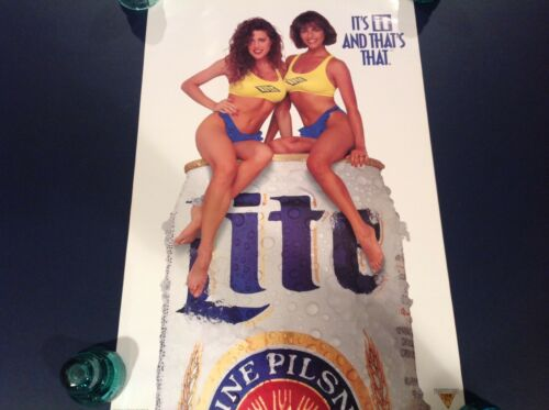 """Miller Lite Vintage POSTER Swimsuit Girls Beer Sexy """"Its It And That"""