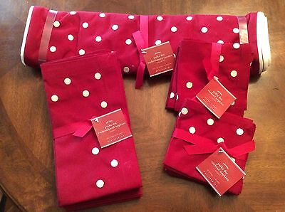 NWT Pottery Barn Red Polka Dot Embroidered Runner, 8 Cocktail Napkins, 4 Napkins