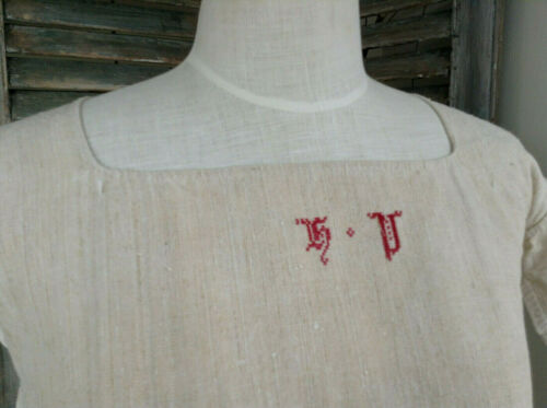 Antique French Linen Hemp night dressing gown smock shirt dress Mono HV?