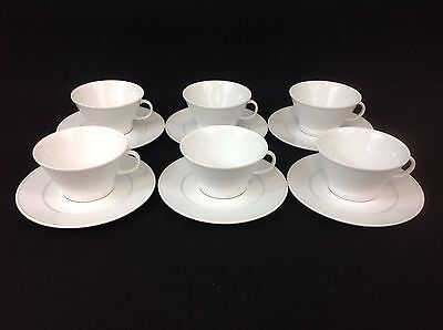 Crate & Barrel Loft SIX White Cups and Saucers Winterling Germany