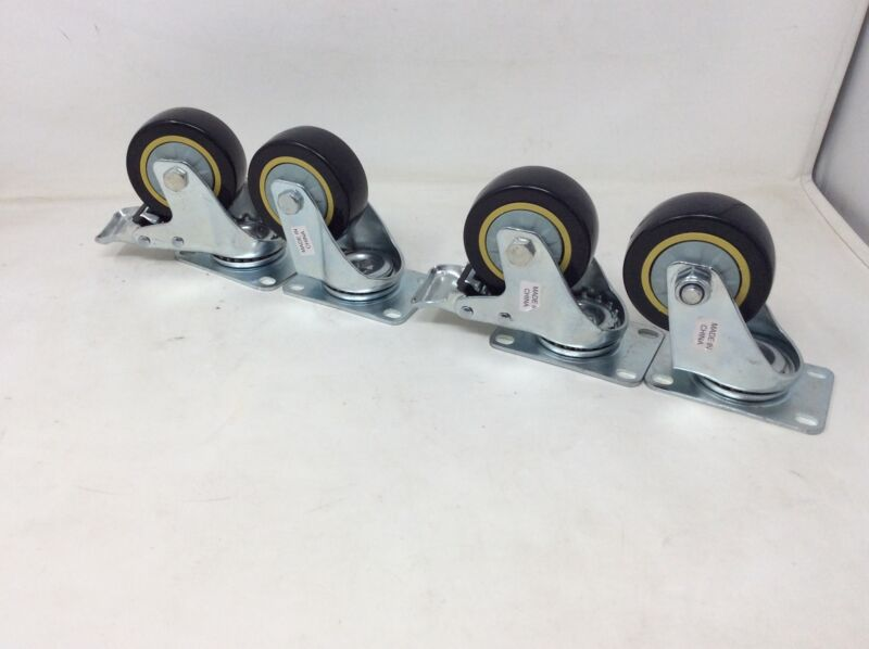 """Clearance- ABN Swivel Plate Caster Wheels 3"""" Set of 4 Locking Casters"""