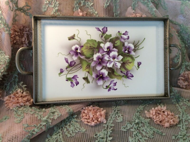 ANTIQUE Violets GERMAN PORCELAIN and SILVERTONE METAL SERVING TRAY  1900-1930