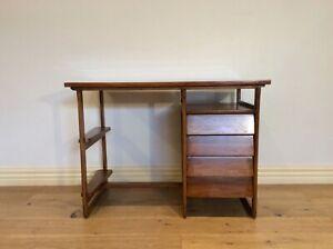 Mid Century Douglass Snelling Inspired Four Drawer Hardwood Desk.