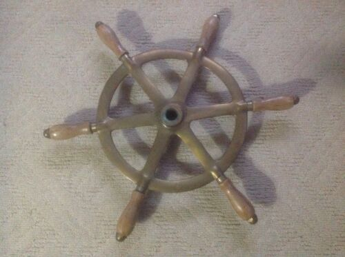 "Rare 20""Old Perko Ship Steering Wheel Wood&Brass~Antique Nautical Maritime Relic"