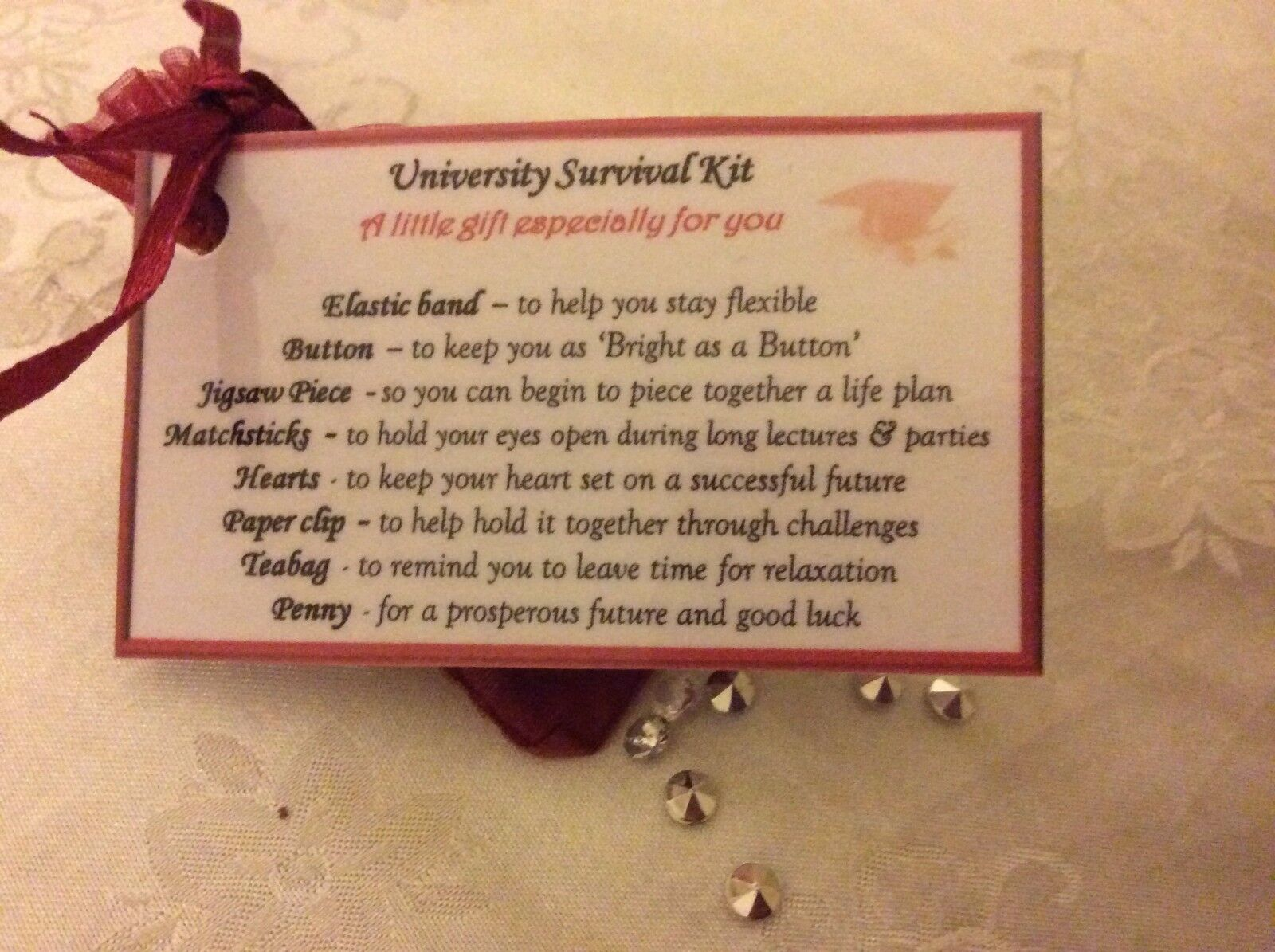"""DOUBLE SIDED LARGE KEYRING GRADUATION GIFT /""""GOOD LUCK AT UNIVERSITY/"""" GIFT"""