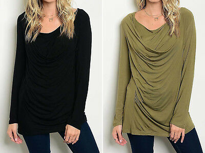 - Ladies High Low Tunic Length Top Cowl Neck Womens Biker Motorcycle Ruched