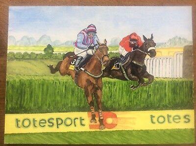 Original Watercolour Race horse Painting BEST MATE 3x Cheltenham Gold Cup