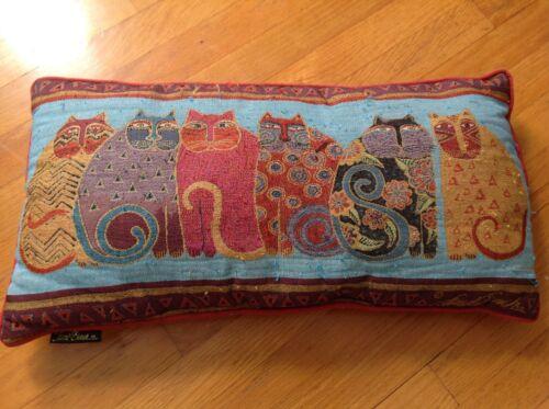 "Vintage Laurel Burch CATS Tapestry 23"" x 12"" Velvet Back Pop Art Throw Pillow"