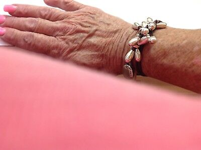 """NWT Uno de 50 Silver Plated Beads/Leather Wrap Bracelet 6"""""""