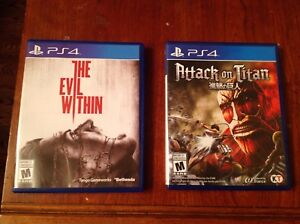 Evil within , attack on titan for sale.