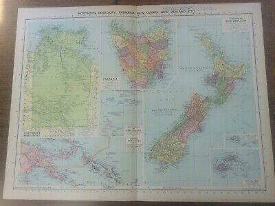 Vintage Antique 1939 Philips Map 20x15 Tasmania New Zealand New Guinea