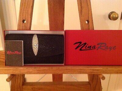 nina raye stingray leather wallet nwt black & white