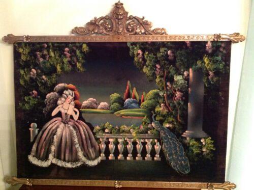 Antique Oil Painting on Velvet w/ Brass Frame