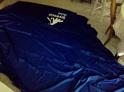7MM35  TABLE COVER SHAM 12' X 7' +/-, ROYAL BLUE, WITH LOGO, VERY GOOD CONDITION (Table Covers With Logo)