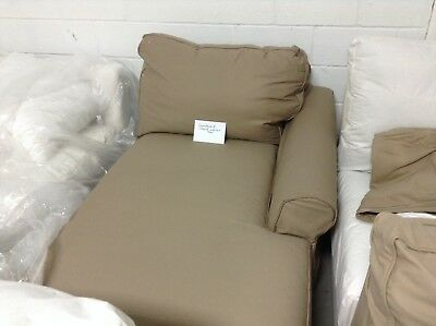 Pottery Barn PB COMFORT roll RIGHT arm Chaise Lounge BOX POLY Walnut Twill cover ()