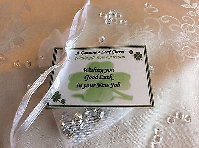Unique Four 4 leaf clover good luck in your New Job gift card leaving work gift