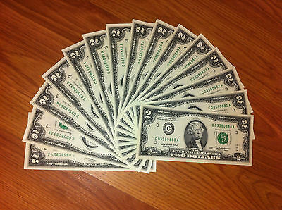 TWO DOLLAR USA NOTES -CONSECUTIVE $2 CURRENCY ,NEW CRISP MONEY -UNCIRCULATED