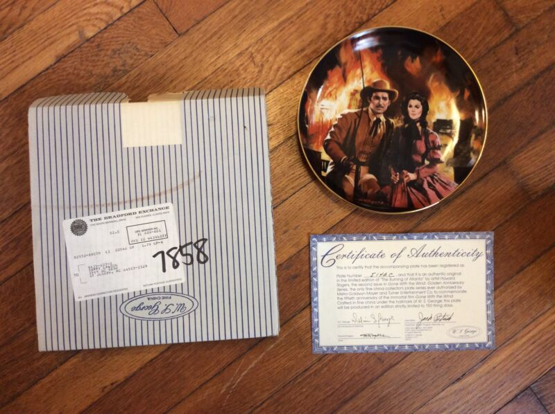 """Gone With The Wind """"The Burning Of Atlanta"""" Collectors Plate in Box+COA"""