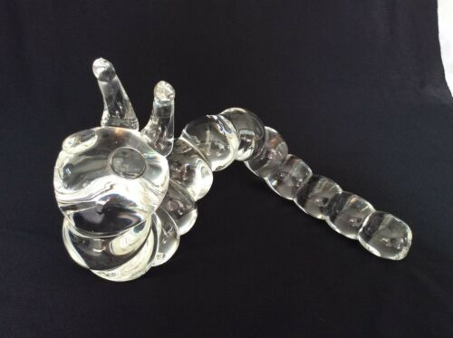 Vintage large Steuben Crystal Caterpillar designed 1970 by Peter Yenawine - EXC
