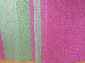 10 X A4 SHEETS NON SHED GLITTER PAPER / CARD * REDUCED * GREEN, PINK, BLUE