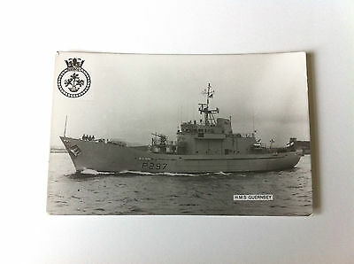 HMS Guernsey. Real Photographic Postcard