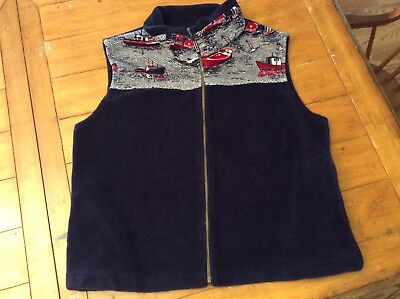 NORTHERN LIFESTYLES (MADE IN CANADA) Thick Fleece zip vest Retro Maine Boats XL