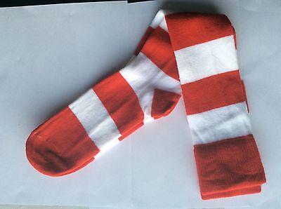 Red White Striped Socks (1 PAIR LADIES NOVELTY MRS. SANTA CLAUS KNEE-HI SOCKS  * RED & WHITE)