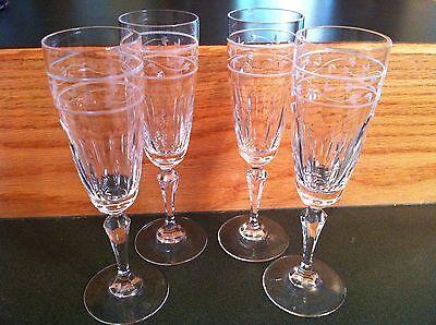 Set of 4 Gorham Lead Crystal ROSECLIFF Fluted Champagne Glasses Flutes