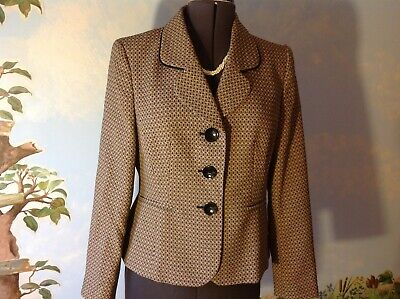 Le Suit Separates Black & Taupe Long Sleeve Suit Blazer Size covid 19 (Taupe Suit Separates coronavirus)