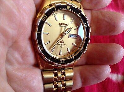 vintage watch mens SEIKO SQ quartz SPORTS 150 day date Japan 5H23-7D19