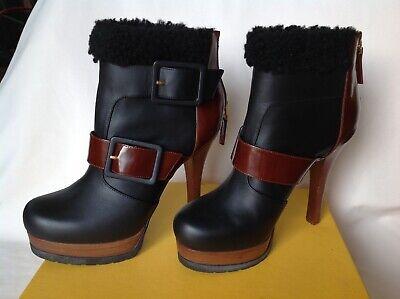 FENDI 7 Leather Platform Ankle Boots Platform Heels Black Brown shearling trim