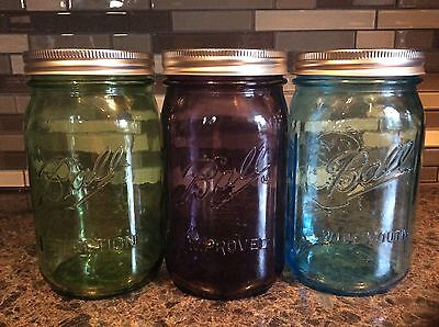 Ball Heritage Vintage Collection Quart Mason Jars  (1) each Blue,Green,Purple