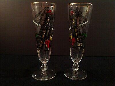Libbey Treasure Island Tall Pilsner Beer Glass Set of Two (2) Vintage Pirate Vintage Pilsner Set