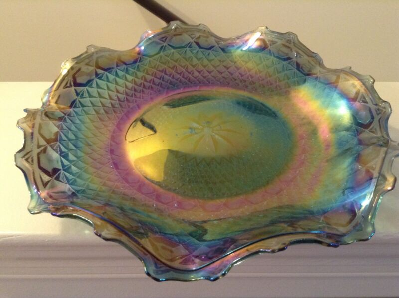 Vintage Iridescent Blue and Green Carnival Indiana Glass Ruffled Edge