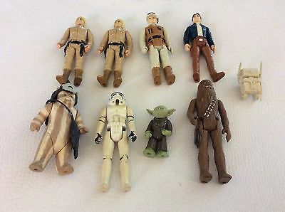 VINTAGE LOT OF 8 STAR WARS ACTION FIGURES 1977 1980 1983