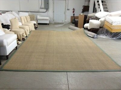 Ballard Designs Seagrass natural Indoor Area Carpet Rug Moss green Border 10x14  10' Seagrass Area Rug