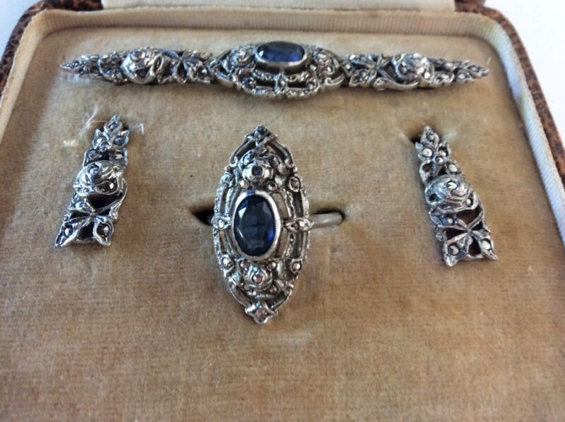 Silver  Marqusite Paste Set Earrings ,Ring, Brooch original Box